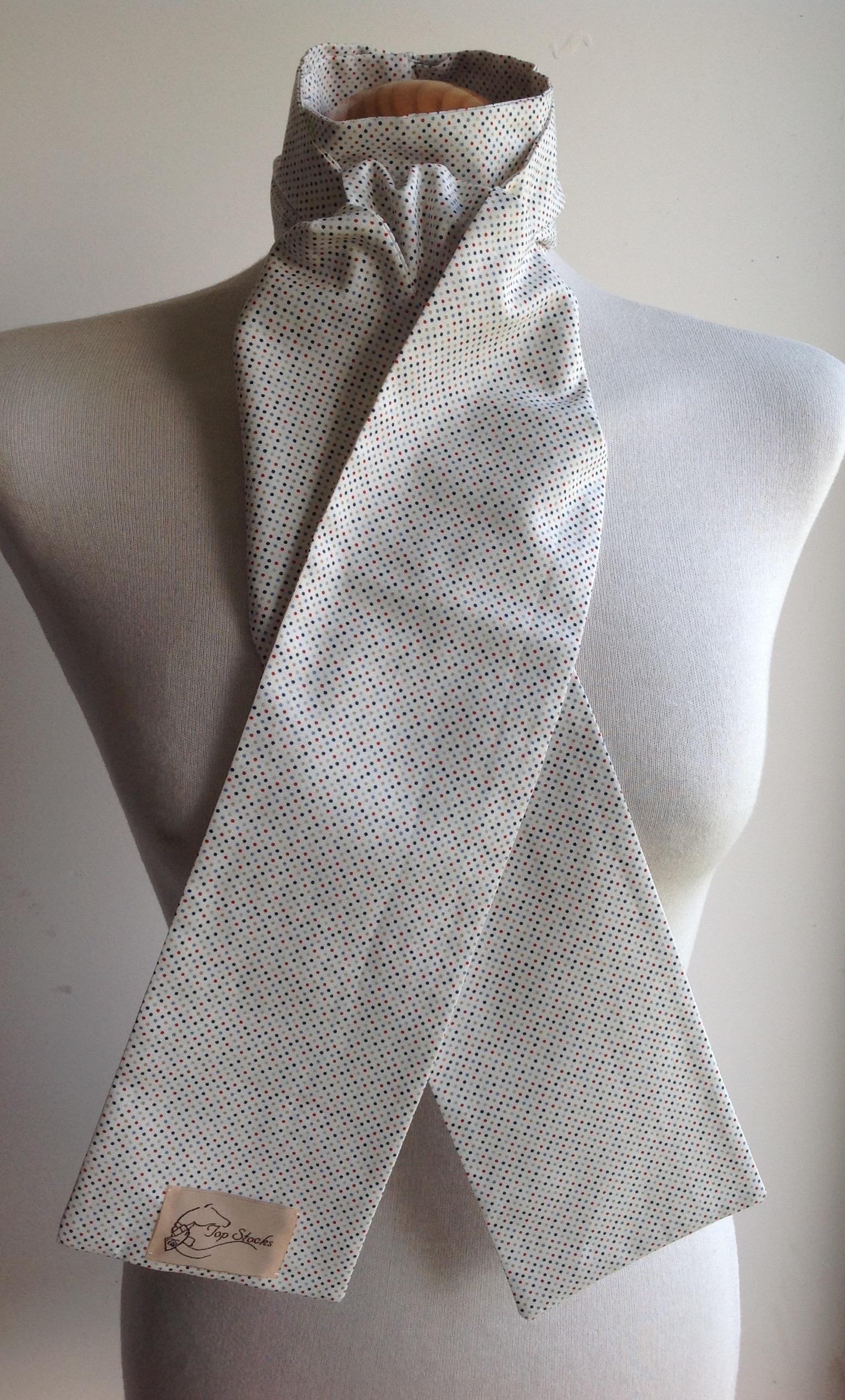 Shaped to tie 100% cotton stock - Ditsy multicolour polka dot