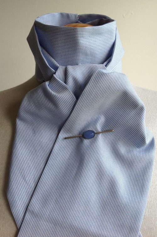 Shaped to tie 100% cotton stock - blue and white pinstripe