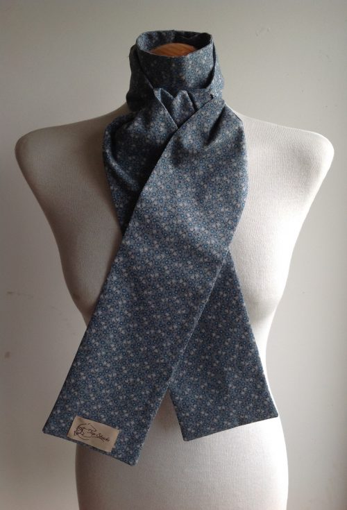 Shaped to tie 100% cotton stock - mini floral in blues