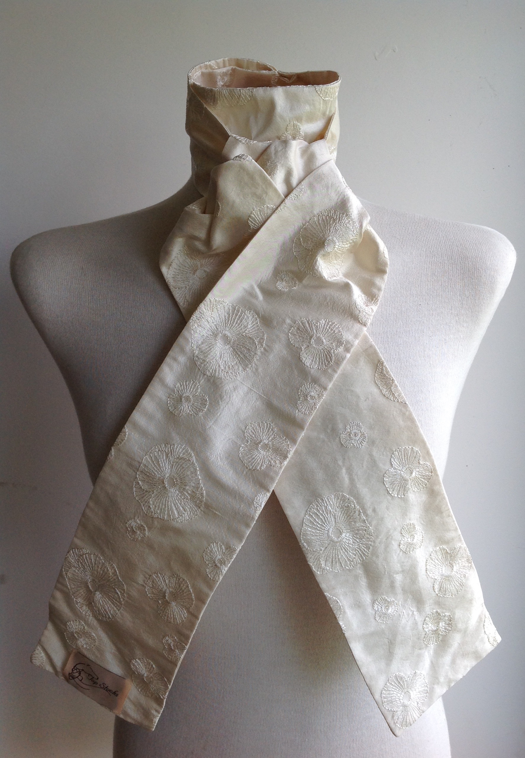 Shaped to tie 100% silk stock - ivory self coloured embroidered Poppies