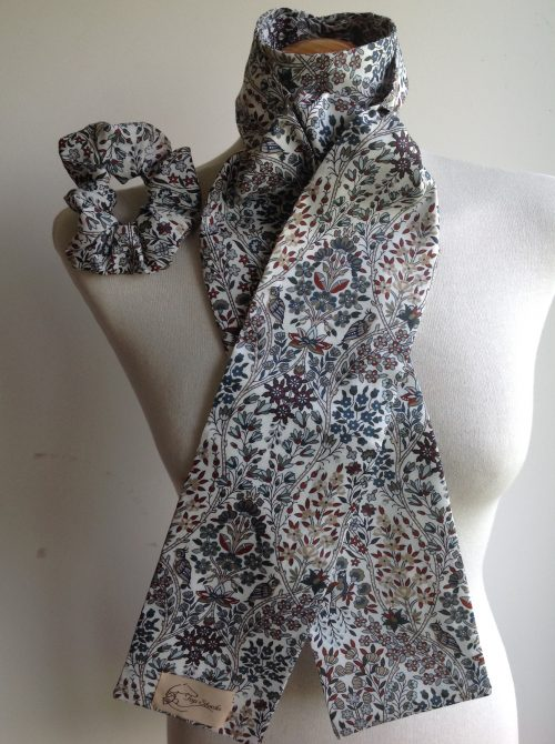 Shaped to tie Liberty tana lawn stock and scrunchie - Kensington Park grey multi
