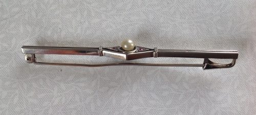 Vintage Art Deco silver tone faux pearl and pink paste stock pin