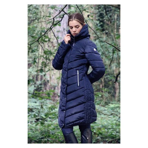 Coldstream Kimmerston long quilted coat in navy