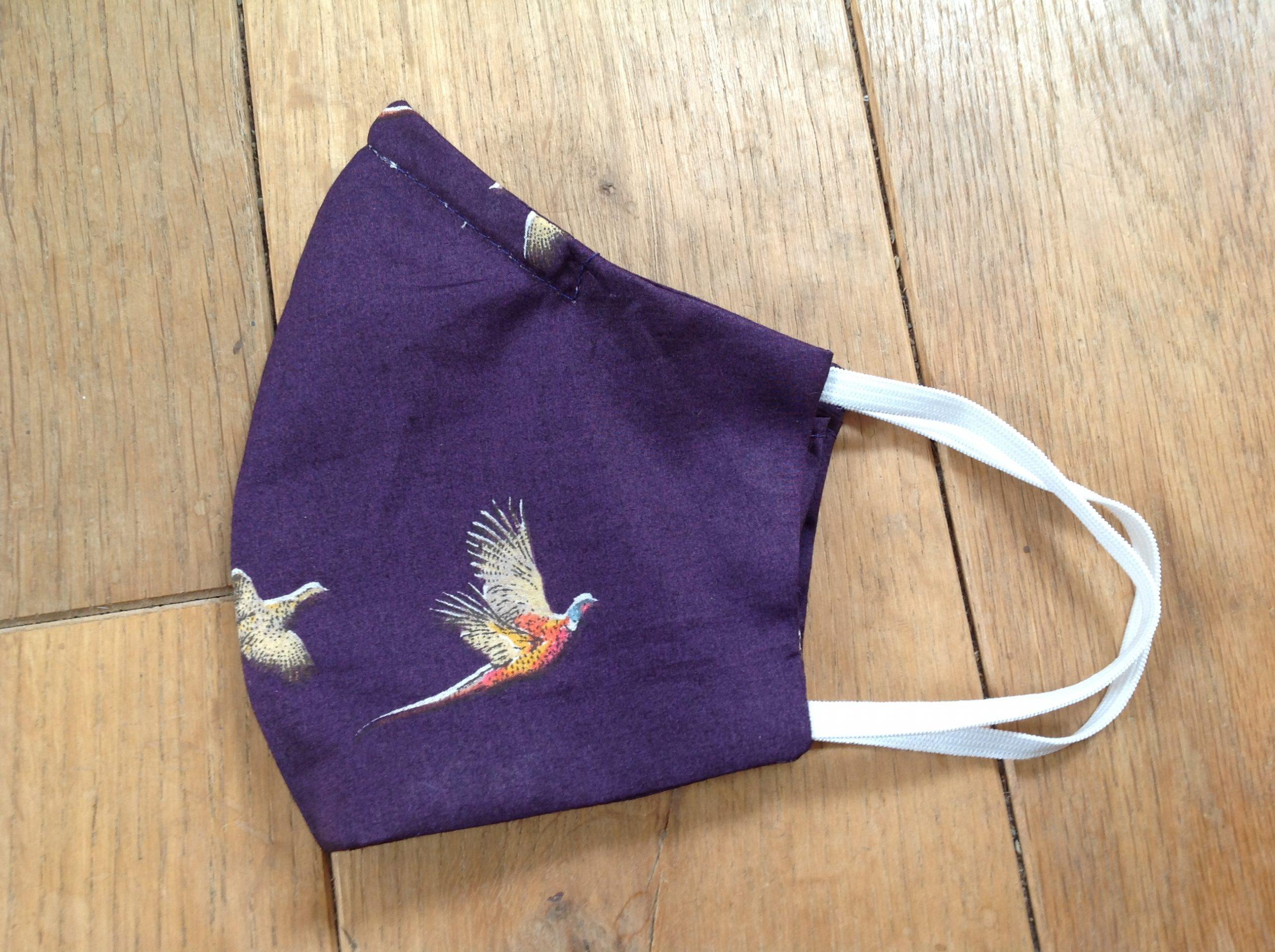 Shaped face covering - tana lawn cotton Pheasants purple