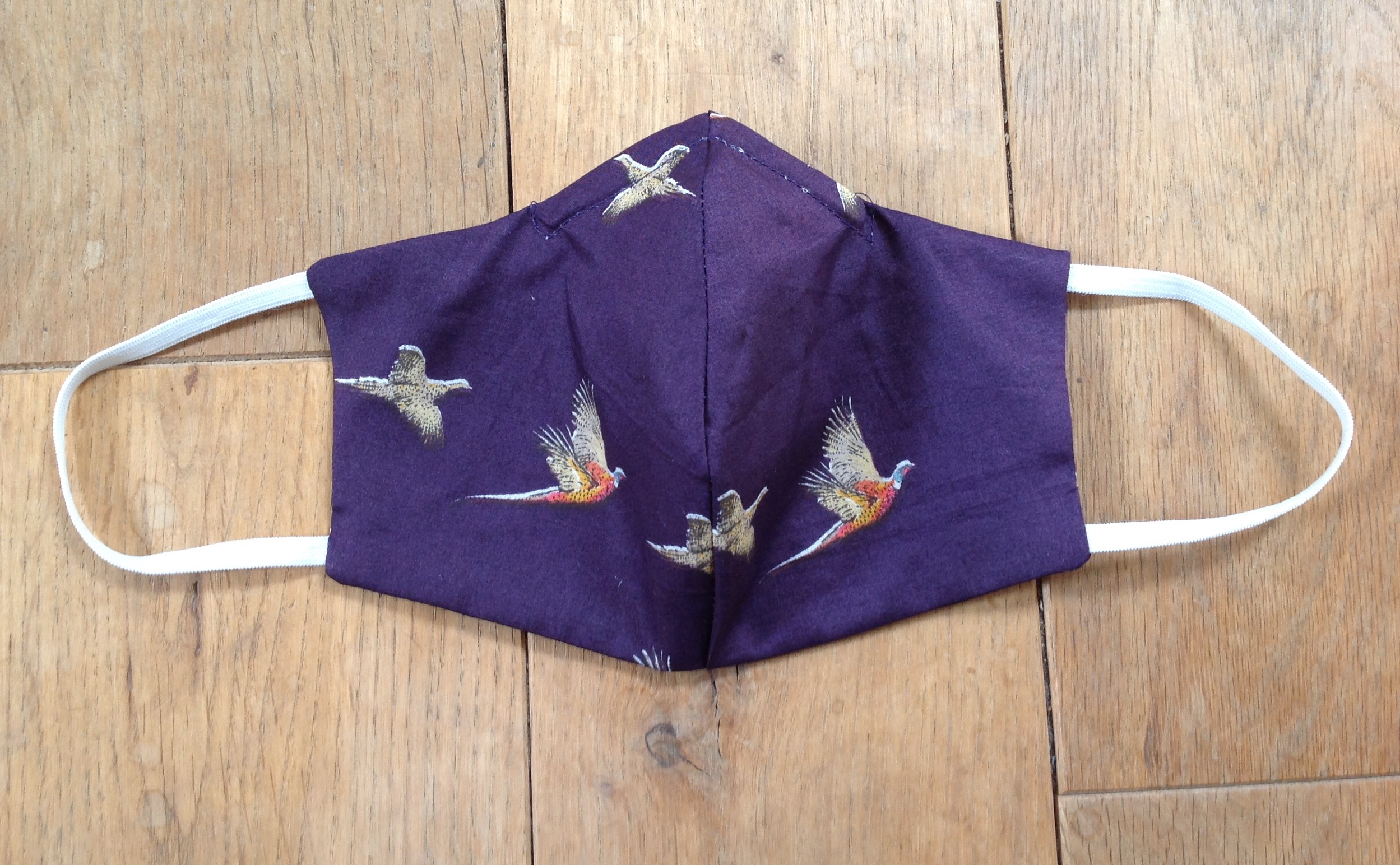 Shaped face covering - tana lawn cotton Pheasant purple