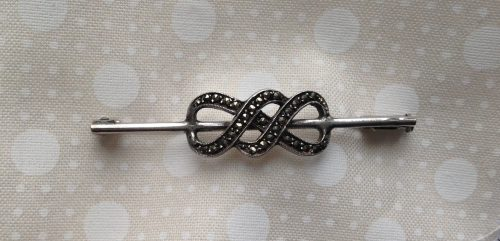 Vintage silver and marcasite knot stock pin