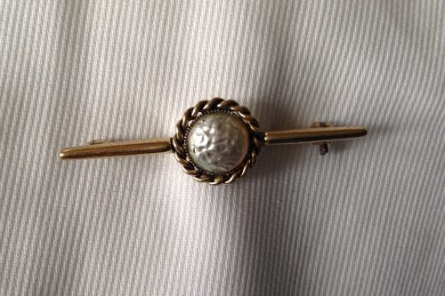 Vintage goldtone and foil cabachon stock pin